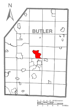 Map of Shanor-Northvue, Butler County, Pennsylvania Highlighted.png