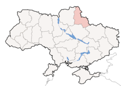 Location o Sumy Oblast (red) athin Ukraine (blue)
