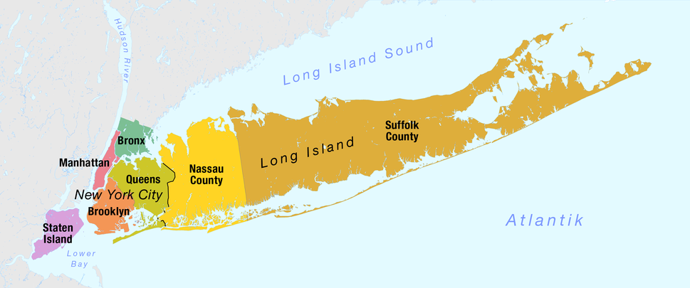 Map of the Boroughs of New York City and the counties of Long Island