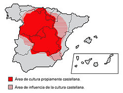 Mapa d'as arias de cultura castellana y as zonas d'influencia