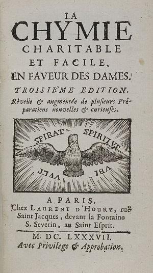Marie Meurdrac - Title page of La Chymie ... des Dames, 1687 edition