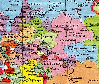Upper Lusatia - Upper Lusatia (blue) held by the Margraves of Brandenburg, c. 1253-1319