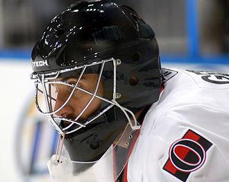 Ice hockey goaltending equipment - Martin Gerber, playing for the Ottawa Senators, wearing a modern goalie mask.