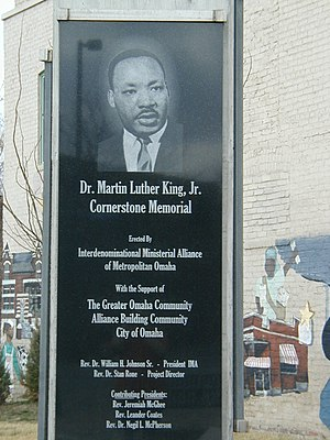North Omaha, Nebraska - Rev. Dr. Martin Luther King Jr Cornerstone Memorial at the NW corner of 24th and Lake St in North Omaha