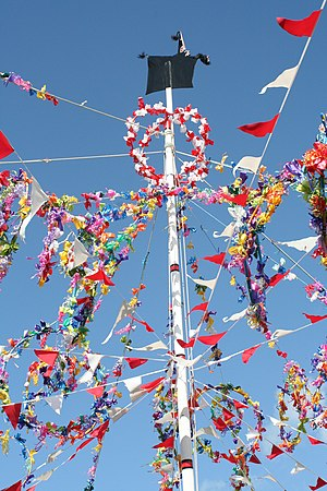 'Obby 'Oss festival - May Pole in Padstow, 2006