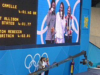Swimming at the 2012 Summer Olympics – Women's 400 metre freestyle - Podium for the 400m freestyle. L-R: Allison Schmitt (silver), Camille Muffat (gold) and Rebecca Adlington (bronze).