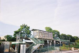 Medford (LIRR station) - View of Medford Station's sheltered platform from the parking lot.