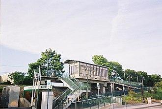 Medford (LIRR station) - View of Medford Station's sheltered platform from the parking lot.