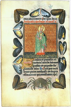 Hours of Catherine of Cleves - Saint Ambrose with border of mussel-shells