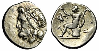 Megalopolis, Greece - A silver triobol of the Arcadian League from ancient Megalopolis. The head of Zeus on the obverse, Pan seated on the reverse.