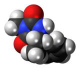 Space-filling model of the mephenytoin molecule