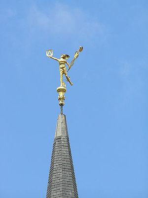 Belfry of Kortrijk - The Roman god Mercurius on the spire of the belfry tower