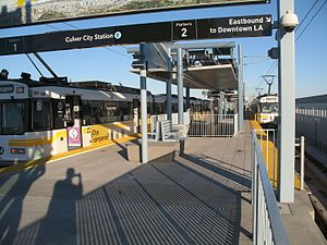 Expo Line train at Culver City Station platform looking east.