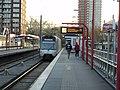 Metro arriving at Rotterdam subway station Hesseplaats 2.jpg