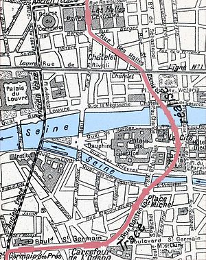 Paris Métro Line 4 - Original abandoned route (black) and built route (red) of Line 4 through the île de la Cité.