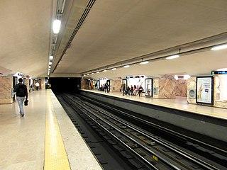 Saldanha (Lisbon Metro) metro station in Lisbon, Portugal