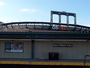 Mets–Willets Point (IRT Flushing Line) - Citi Field and the Manhattan-bound local platform, as seen from the center island platform