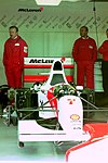 Michael Andretti`s Mclaren MP4-8 in the pit garage at the 1993 British Grand Prix (33557347031).jpg