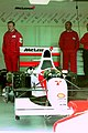 Michael Andretti`s Mclaren MP4-8 in the pit garage at the 1993 British Grand Prix (33557347031).jpg