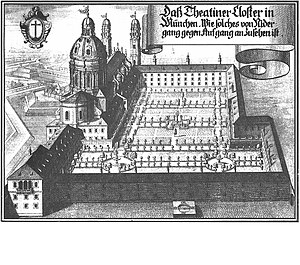 Theatine Church, Munich - Theatine Church, about 1700 (Copperplate engraving by Michael Wening)