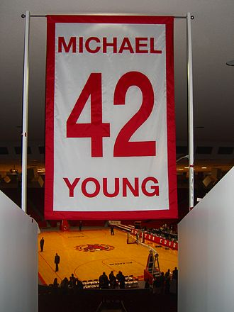 Michael Young (basketball, born 1961) - Image: Michael Young UH retired number
