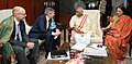 Micheal Steiner calling on the Minister of State for Labour and Employment (Independent Charge), Shri Bandaru Dattatreya, in New Delhi. The Secretary, Ministry of Labour and Employment, Smt. Gauri Kumar is also seen.jpg
