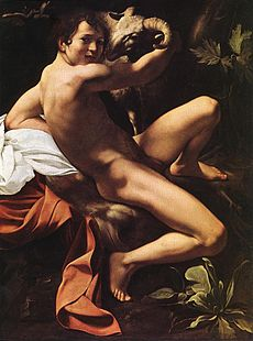 Michelangelo Merisi da Caravaggio, Saint John the Baptist (Youth with a Ram) (c. 1602, WGA04112).jpg
