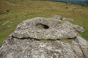 English: Middle Tor Rock Basin Thought to be f...