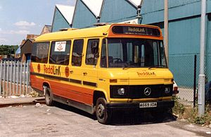 First Midland Red - ReddiLink branded  Mercedes-Benz L608D in July 1989