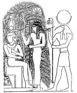 Milkau Der heilige Baum von Heliopolis mit Thot und Seschet 15-2.jpg