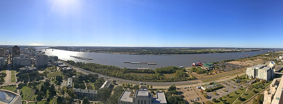 The Mississippi River in downtown Baton Rouge
