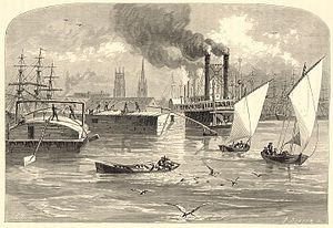 Flatboat - Flatboats among the river traffic at New Orleans, 1873