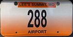Missouri local government license plate - Lee's Summit.JPG