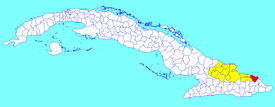 Moa municipality (red) within  Holguín Province (yellow) and Cuba