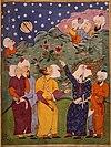 Muhammad menunjukkan bulan yang membelah. Anonim abad ke-16 cat air dari Falnama, sebuah buku nubuat dari Persia. Muhammad adalah sosok terselubung di sebelah kanan.