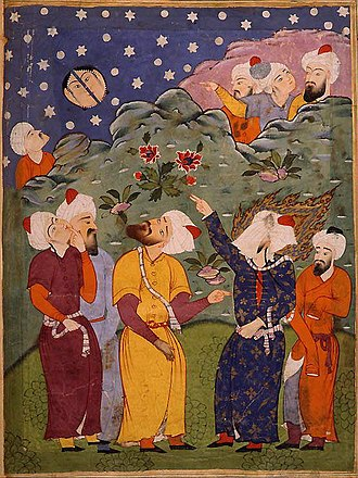 Splitting of the moon - Muhammad points out the splitting of the moon. Anonymous 16th-century watercolor from a Falnama, a Persian book of prophecy. Muhammad is the veiled figure on the right.