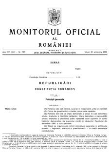 Constitution of Romania Fundamental governing document of Romania