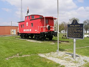 Monon Railroad - Restored Reading Railroad caboose painted as a Monon, in Monon, Indiana