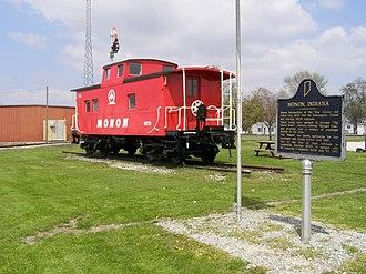 Monon Railroad - Restored Reading Railroad caboose painted as a Monon, in Monon, Indiana