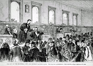 Bank run - The run on the Montreal City and District Savings Bank. The Mayor addressing the crowd. Printed in 1872 in the Canadian Illustrated News.