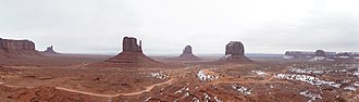 Monument Valley - Panorama of Monument Valley in winter