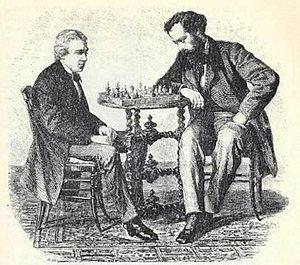 Jules Arnous de Rivière - De Rivière (right) playing with Paul Morphy, Paris 1858
