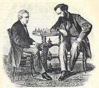 Jules Arnous de Rivière - De Rivière (right) playing with Paul Morphy, Paris 1858
