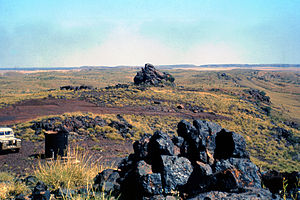 Goldsworthy, Western Australia - 1964 photograph showing iron ore outcrops on the top of Mount Goldsworthy before mining commenced