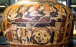 Jupiter and Thetis - Thetis and the Nereids mourning Achilles, Corinthian black-figure hydria, 560–550 BC; note the Gorgon shield - Louvre