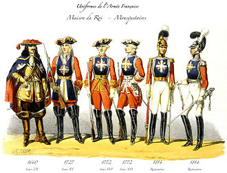 Maison militaire du roi de France - Uniforms of the Musketeers of the Guard from 1660 to 1814