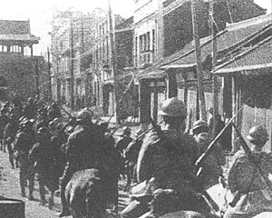 The Blue Lotus - Japanese soldiers enter Shenyang during the Mukden Incident in 1931; one of the events of the contemporary Sino-Japanese War depicted in The Blue Lotus.