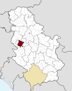 Location of the city of Valjevo within Serbia