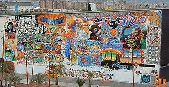 999bce6f3 Multi-artist graffiti in Barcelona, Spain