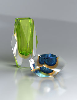 Cut Glass Murano Barbells Chandelier
